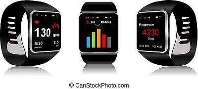 Smartwatch - Black Touchscreen Smartwatch with health app ...