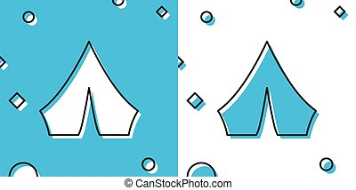 Black Tourist tent icon isolated on blue and white background. Camping symbol. Random dynamic shapes. Vector Illustration