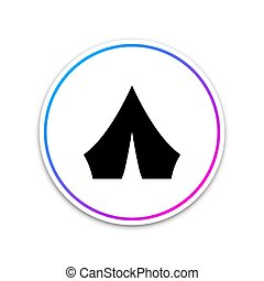 Black Tourist tent icon isolated on white background. Camping symbol. Circle white button. Vector Illustration
