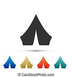 Black Tourist tent icon isolated on white background. Camping symbol. Color set icons. Vector Illustration