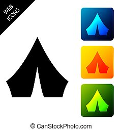 Black Tourist tent icon isolated on white background. Camping symbol. Set icons colorful square buttons. Vector Illustration