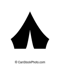 Black Tourist tent icon isolated on white background. Camping symbol. Vector Illustration