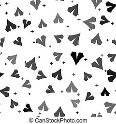 Black Tourist tent icon isolated seamless pattern on white background. Camping symbol. Vector Illustration