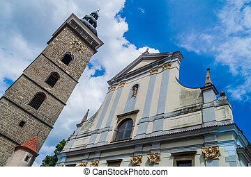 Black Tower Cerna vez and St. Nicholas Svaty Mikulas church in Ceske Budejovice, Czech Republic