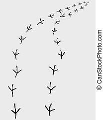 Black trail of birds, turn right, vector illustration