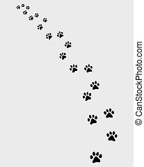 trail of cat - Black trail of cat, turn left, vector...