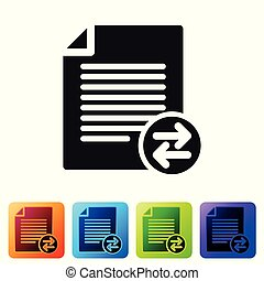 Black Transfer files icon isolated on white background. Copy files, data exchange, backup, PC migration, file sharing concepts. Set icon in color square buttons. Vector Illustration