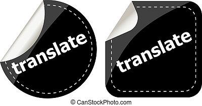 black translate stickers set on white, icon button