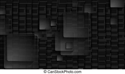 Black transparent squares on dark mosaic background video ...
