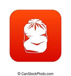 Black trash bag icon digital red