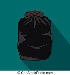 Black trash bag icon, flat style