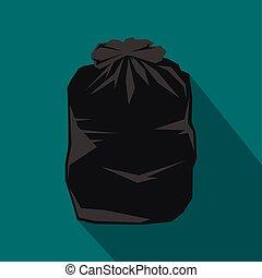 Black trash bag icon, flat style