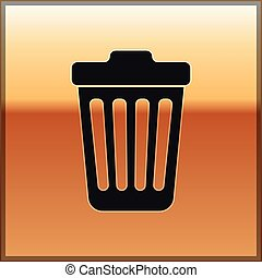 Black Trash can icon isolated on gold background. Garbage bin sign. Vector Illustration