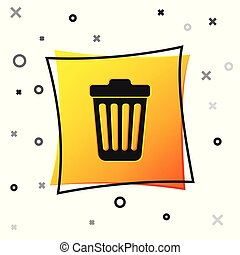 Black Trash can icon isolated on white background. Garbage bin sign. Yellow square button. Vector Illustration