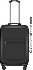 Black travel bag icon, realistic style