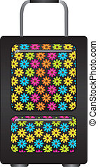 black travel bag with flowers cartoon isolated over white background. vector