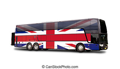 Black Travel  bus with the English flag on side