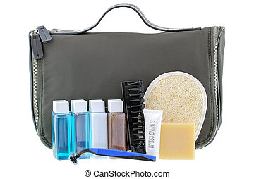 Black traveling cosmetic bag with toiletries, isolated on...
