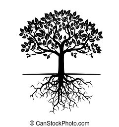 Black Tree and Roots. Vector Illustration.