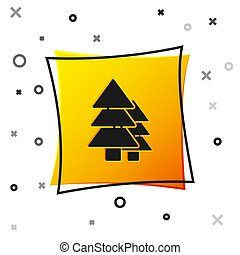 Black Tree icon isolated on white background. Forest symbol. Yellow square button. Vector Illustration