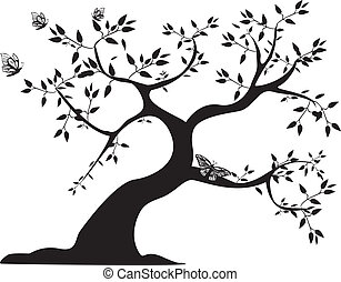 tree - black tree on white background