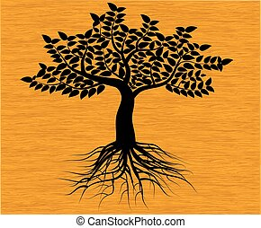 black tree silhouette isolated on background wood, vector