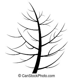 black tree silhouette isolated on white background, vector
