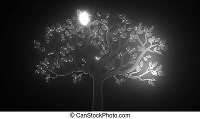 black tree silhouette isolated on white background, video