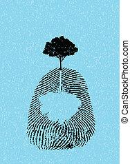 black tree silhouette on fingerprint