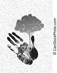 black tree silhouette on handprint