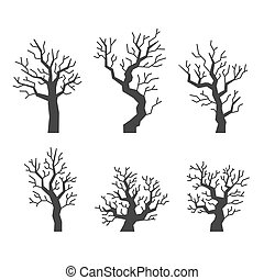 Black Tree Silhouettes Set on White Background. Vector