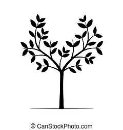 Black Tree. Vector Illustration.