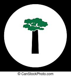 black tree with green leaves simple icon eps10