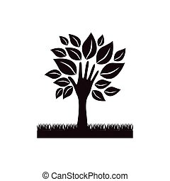 black tree with leaves and grass icon