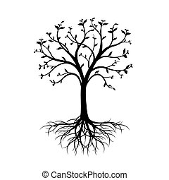 Black Tree with leaves and Roots on white background.