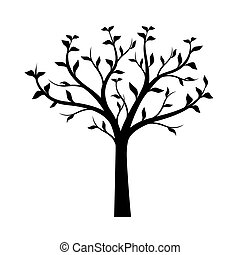 Black Tree with leaves on white background. Vector Illustration.