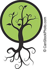 black tree with roots isolated white background, logo