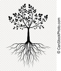 Black Tree with Roots on transparent background. Vector Illustration.