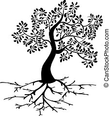 Black tree icon and roots silhouette isolated background. Vector file layered for easy manipulation and custom coloring.
