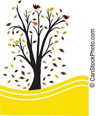 black tree yellow background