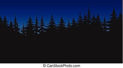 Black trees silhouette, night landscape