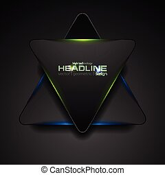 Black triangle with blue green light abstract background