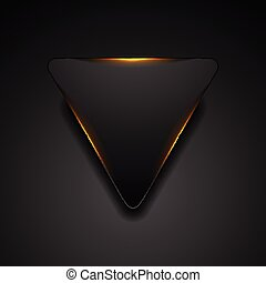 Black triangle with fiery orange light abstract background