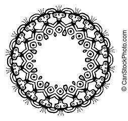 Black tribal frame in ethnic style, vector