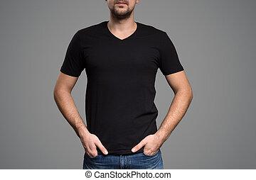 black trikó, képben látható, egy, fiatalember, template., szürke, háttér.