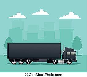 black truck car vehicle on the road scene