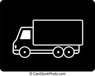 black truck - cartoon black shipping truck sign