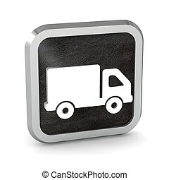 black truck icon button on a white background