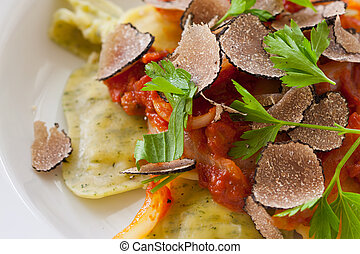 Black truffle ravioli pasta - Freshly made italian ravioli ...