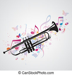 Black trumpet and notes - Music abstract background with...